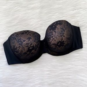 Curvy Couture Intimates Strapless Black Lace Bra